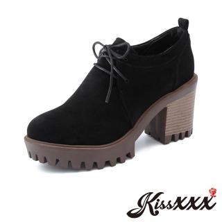 【KissXXX】厚底粗跟百搭休閒剪裁高跟牛津鞋(黑)  KissXXX