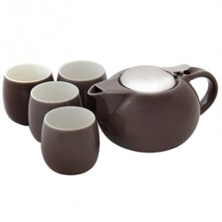 【HOLA】愛格爾一壺四杯茶具組 棕灰色強力推薦  HOLA