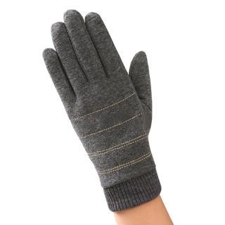 【幸福揚邑】防風觸控手套加絨保暖機車手套-螺紋男款(灰)  幸福揚邑