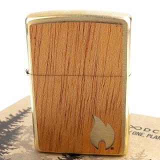 【Zippo】美系~WOODCHUCK-桃花心木貼片打火機-買一顆!種一棵樹!  Zippo