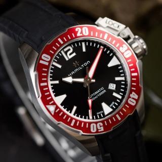 【HAMILTON 漢米爾頓】Khaki Navy 特種蛙人夜光機械錶 紅(H77725335)好評推薦  HAMILTON 漢米爾頓