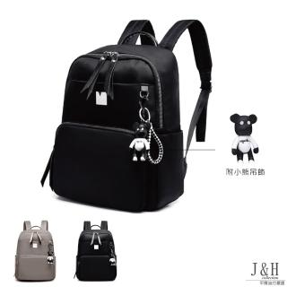 【J&H collection】韓版百搭街頭潮流雙肩包(卡其色 / 黑色 附小熊吊飾)好評推薦  J&H collection