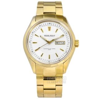 【ARIES GOLD】機械錶 自動上鍊 藍寶石水晶玻璃 日期星期顯示 不鏽鋼手錶 銀白x鍍金 42mm(G9004G-W)  ARIES GOLD