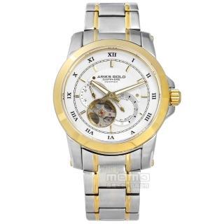 【ARIES GOLD】機械錶 自動上鍊 鏤空機芯 藍寶石水晶玻璃 不鏽鋼手錶 銀白x鍍金 41mm(G90012TG-W)  ARIES GOLD