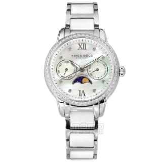 【ARIES GOLD】月相錶 藍寶石水晶玻璃 日期星期 陶瓷不鏽鋼手錶 銀白色 34mm(L58010LS-MP)  ARIES GOLD