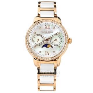 【ARIES GOLD】月相錶 藍寶石水晶玻璃 日期星期 陶瓷不鏽鋼手錶 銀白x鍍玫瑰金 34mm(L58010LRG-MP)  ARIES GOLD