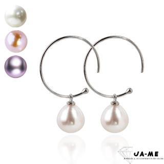 【JA-ME】完美皮光天然珍珠925純銀C型耳環  JA-ME