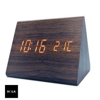 【HOLA】木紋LED數位電子鬧鐘 三角形 棕推薦折扣  HOLA