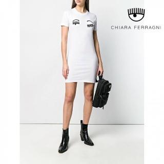 【Chiara Ferragni】FLIRTING短袖連身裙-白(2019 春夏新品)  Chiara Ferragni