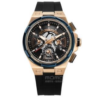 【ARIES GOLD】鏤空錶盤 藍寶石水晶玻璃 日期星期 防水100米 矽膠手錶 黑x玫瑰金框 45mm(G70032TRB-BKRG)  ARIES GOLD