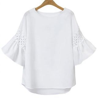 【KEITH-WILL】簡約俐落鏤空喇叭袖寬鬆上衣M-L(共1色)  KEITH-WILL