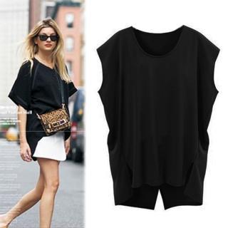 【KEITH-WILL】米蘭時尚不對稱下擺蝙蝠圓領寬鬆T恤2XL-4XL(共1色)  KEITH-WILL