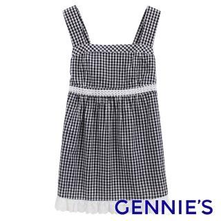 【Gennies 奇妮】格紋布蕾絲棉質吊帶上衣(紅/黑G3X45)  Gennies 奇妮