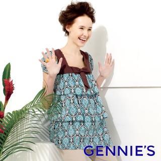 【Gennies 奇妮】甜美幾何蛋糕裝上衣(綠/黑G3U12)推薦折扣  Gennies 奇妮