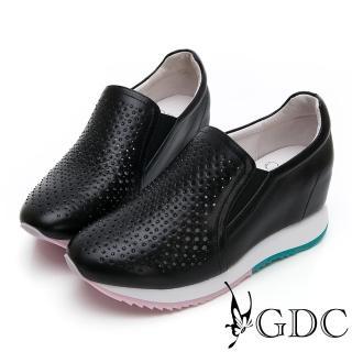 【GDC】基本簡約質感氣質真皮沖孔洞洞素面內增高休閒鞋-黑色(914524)  GDC