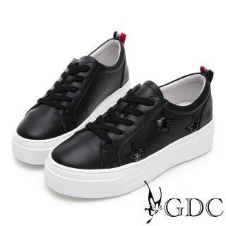 【GDC】真皮星星俏皮逗趣素面綁帶百搭厚底休閒鞋-黑色(914529)  GDC