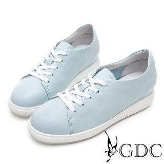 【GDC】青春真皮素色馬卡龍百搭綁帶休閒鞋-藍色(914531)推薦折扣  GDC