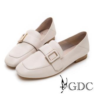 【GDC】氣質文青方釦真皮質感方頭流行樂福鞋-米色(914751)強力推薦  GDC