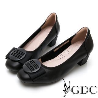 【GDC】真皮質感霧面氣質蝴蝶結上班跟鞋-黑色(914503)  GDC