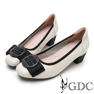 【GDC】真皮質感霧面氣質蝴蝶結上班跟鞋-米色(914503)強力推薦  GDC