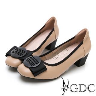 【GDC】真皮質感霧面氣質蝴蝶結上班跟鞋-卡其色(914503)  GDC