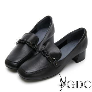 【GDC】歐美時尚潮流真皮金鍊方頭樂福粗跟鞋-黑色(914754) 推薦  GDC