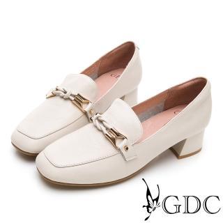【GDC】歐美時尚潮流真皮金鍊方頭樂福粗跟鞋-米色(914754)  GDC