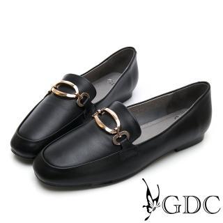 【GDC】真皮方頭金釦氣質上班樂福跟鞋-黑色(914755)  GDC
