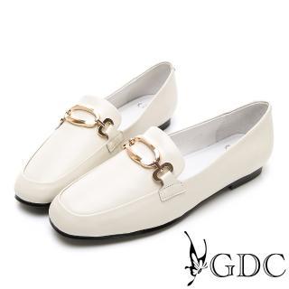 【GDC】真皮方頭金釦氣質上班樂福跟鞋-米色(914755)  GDC
