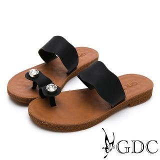 【GDC】超Q軟舒適春夏必備波浪水鑽夾腳拖鞋-黑色(912309)  GDC