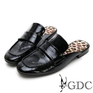 【GDC】歐美漆皮大牌氣勢豹紋底素面平底樂福張菲拖鞋-黑色(914769)推薦折扣  GDC