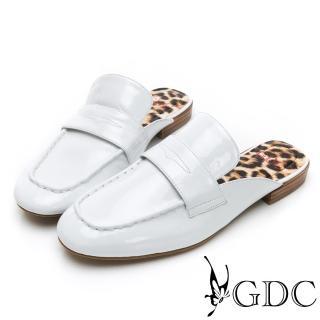 【GDC】歐美漆皮大牌氣勢豹紋底素面平底樂福張菲拖鞋-白色(914769)  GDC