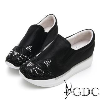 【GDC】俏皮貓咪水鑽厚底舒適休閒鞋-黑色(914506)推薦折扣  GDC