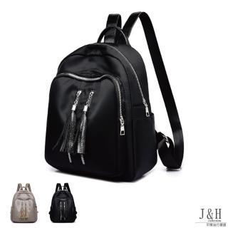 【J&H collection】時尚流蘇拉鏈牛津布雙肩包(卡其色 / 黑色) 推薦  J&H collection