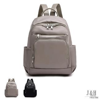 【J&H collection】氣質百搭大容量牛津布雙肩包(卡其色 / 黑色)強力推薦  J&H collection