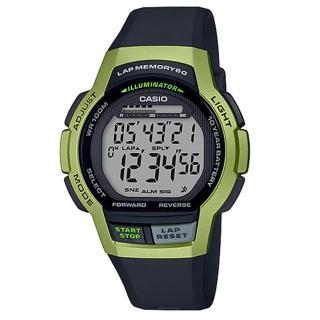 【CASIO 卡西歐】運動電子男錶 橡膠錶帶 綠色 十年電力 防水100米(WS-1000H-3A) 推薦  CASIO 卡西歐