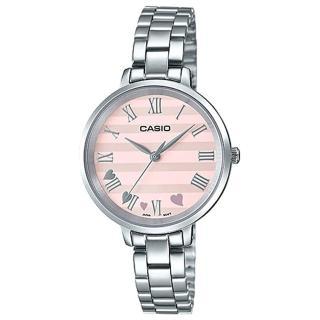 【CASIO 卡西歐】氣質指針女錶 不鏽鋼錶帶 粉色錶面 羅馬數字(LTP-E160D-4A)  CASIO 卡西歐