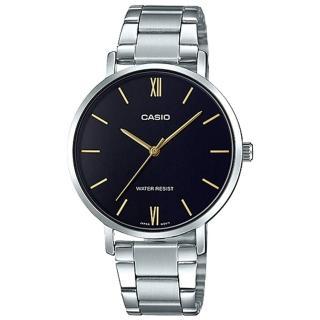 【CASIO 卡西歐】簡約指針女錶 不鏽鋼錶帶 黑色錶面 日常生活防水(LTP-VT01D-1B)  CASIO 卡西歐
