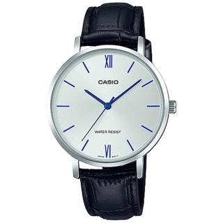 【CASIO 卡西歐】簡約指針女錶 皮革錶帶 銀白錶面 黑色錶帶 日常生活防水(LTP-VT01L-7B1)  CASIO 卡西歐