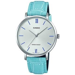 【CASIO 卡西歐】簡約指針女錶 皮革錶帶 銀白錶面 藍色錶帶 日常生活防水(LTP-VT01L-7B3) 推薦  CASIO 卡西歐
