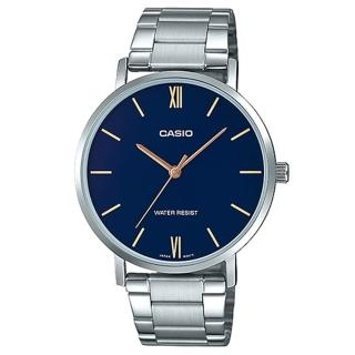 【CASIO 卡西歐】簡約丁字時尚男錶 不鏽鋼錶帶 藍色錶面 日常生活防水(MTP-VT01D-2B)  CASIO 卡西歐