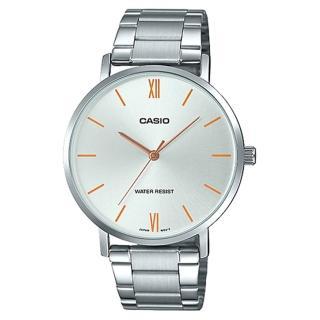 【CASIO 卡西歐】簡約丁字時尚男錶 不鏽鋼錶帶 銀白色錶面 日常生活防水(MTP-VT01D-7B)  CASIO 卡西歐