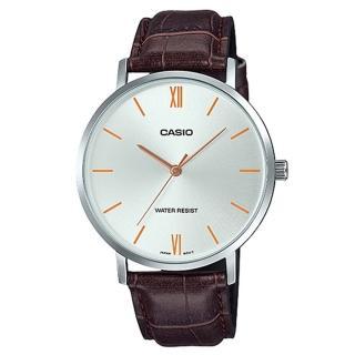 【CASIO 卡西歐】簡約時尚指針男錶 皮革錶帶 銀白色錶面 棕色錶帶 日常生活防水(MTP-VT01L-7B2)好評推薦  CASIO 卡西歐