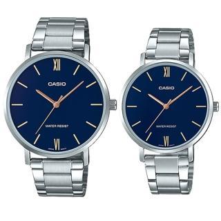 【CASIO 卡西歐】簡約指針對錶 不鏽鋼錶帶 藍色錶面 日常生活防水(MTP-VT01D-2B+LTP-VT01D-2B)真心推薦  CASIO 卡西歐