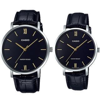【CASIO 卡西歐】簡約指針對錶 皮革錶帶 黑色錶面 日常生活防水(MTP-VT01L-1B+LTP-VT01L-1B) 推薦  CASIO 卡西歐