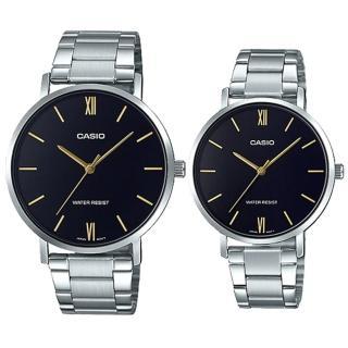 【CASIO 卡西歐】簡約指針對錶 不鏽鋼錶帶 黑色錶面 日常生活防水(MTP-VT01D-1B+LTP-VT01D-1B)  CASIO 卡西歐