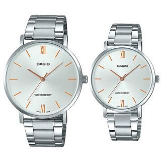 【CASIO 卡西歐】簡約指針對錶 不鏽鋼錶帶 銀白色錶面 日常生活防水(MTP-VT01D-7B+LTP-VT01D-7B) 推薦  CASIO 卡西歐