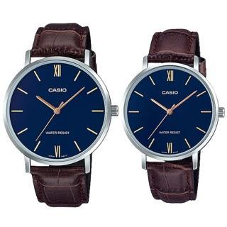 【CASIO 卡西歐】簡約指針對錶 皮革錶帶 藍色錶面 日常生活防水(MTP-VT01L-2B+LTP-VT01L-2B) 推薦  CASIO 卡西歐