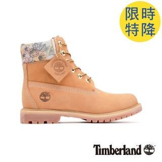 【Timberland】女款小麥色磨砂革花型圖案鞋領六吋靴(A22AY231) 推薦  Timberland