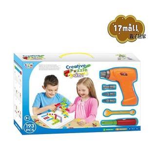 【17mall】小小工程師 電鑽積木拼圖 creative puzzle 4 in 1(電鑽積木 積木手提箱 螺絲起子 拼圖積木) 推薦  17mall